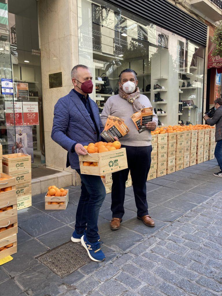 Secretario General Unión pequeños agricultores y ganaderos de granda y presidente de asociación centro comercial abierto Granada con cajas de naranjas del Valle de Lecrín